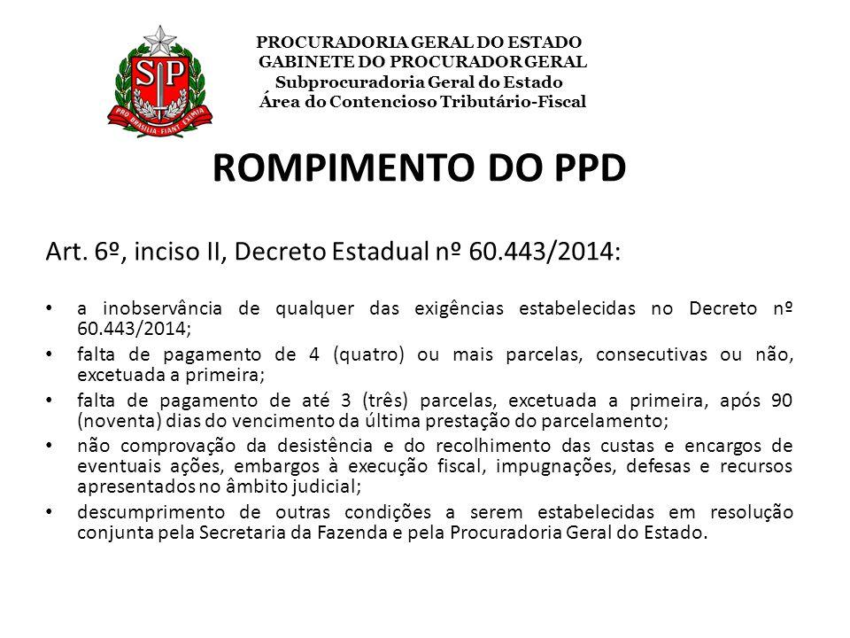ROMPIMENTO DO PPD Art. 6º, inciso II, Decreto Estadual nº 60.443/2014: