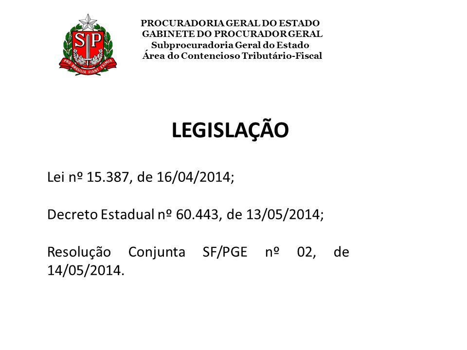 LEGISLAÇÃO Lei nº 15.387, de 16/04/2014;