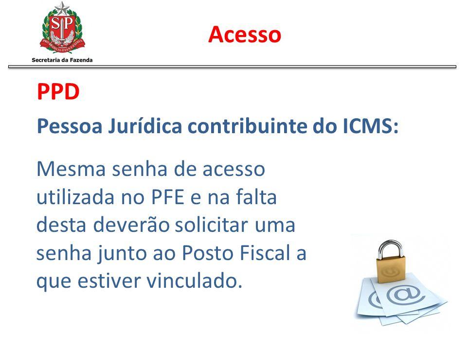Acesso PPD Pessoa Jurídica contribuinte do ICMS: