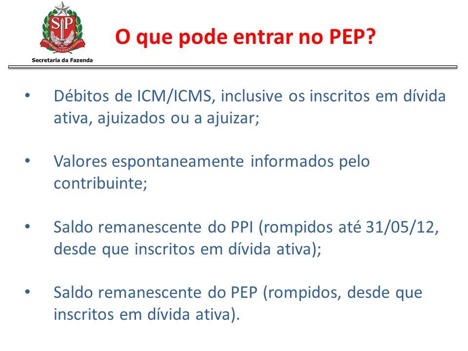 O que pode entrar no PEP Débitos de ICM/ICMS, inclusive os inscritos em dívida ativa, ajuizados ou a ajuizar;