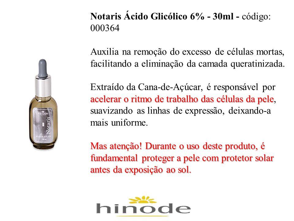 Notaris Ácido Glicólico 6% - 30ml - código: 000364 Auxilia na remoção do excesso de células mortas, facilitando a eliminação da camada queratinizada.