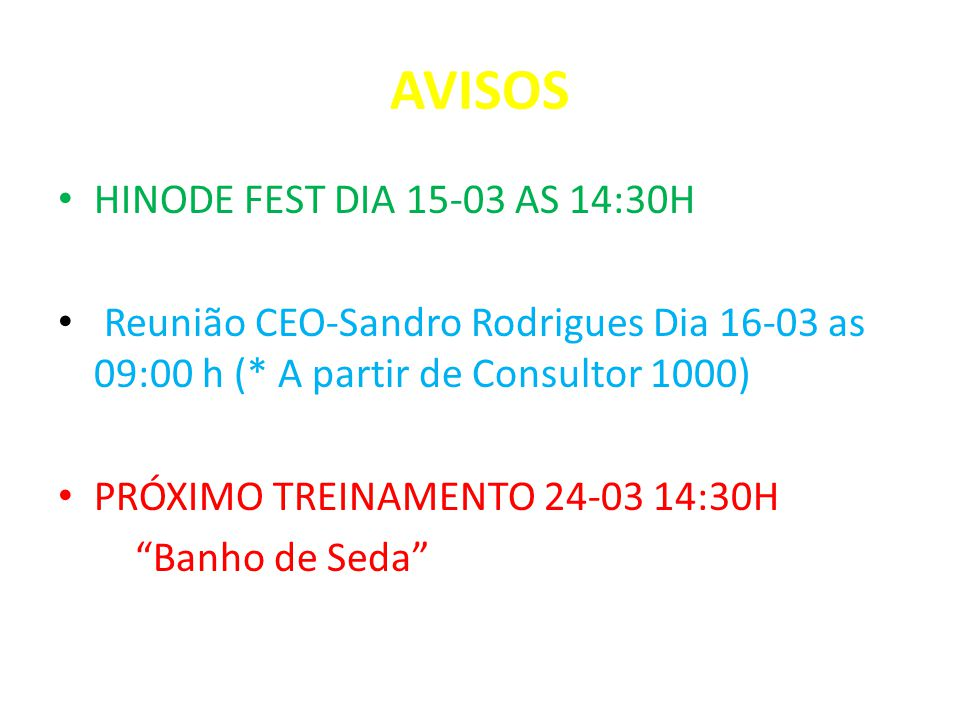 AVISOS HINODE FEST DIA 15-03 AS 14:30H