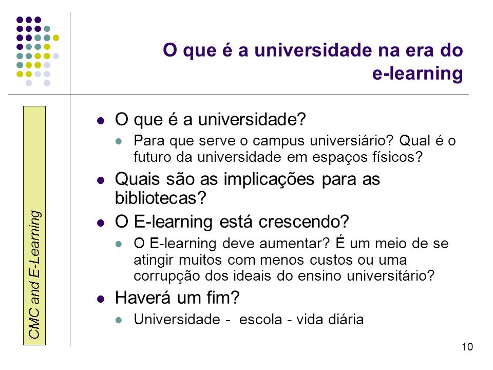 O que é a universidade na era do e-learning