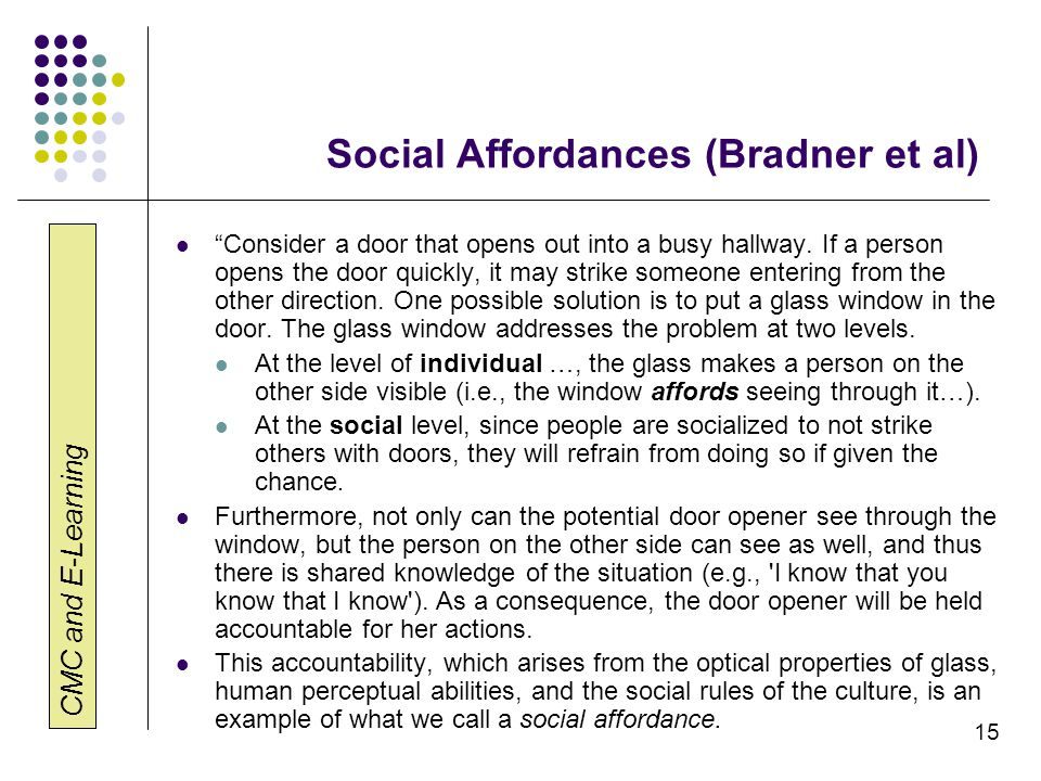 Social Affordances (Bradner et al)
