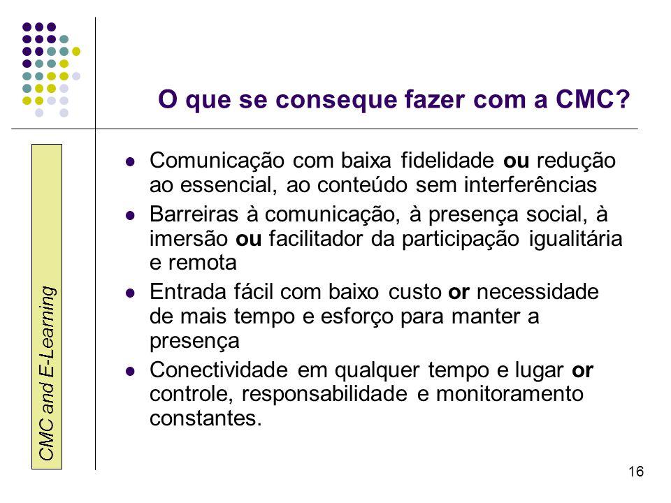 O que se conseque fazer com a CMC