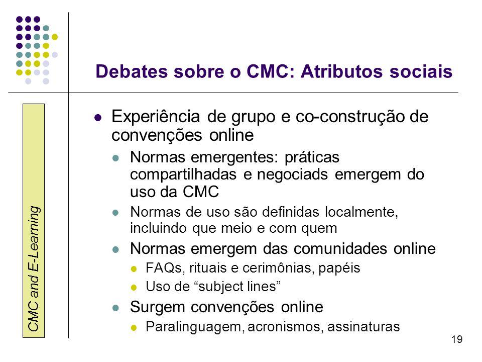 Debates sobre o CMC: Atributos sociais