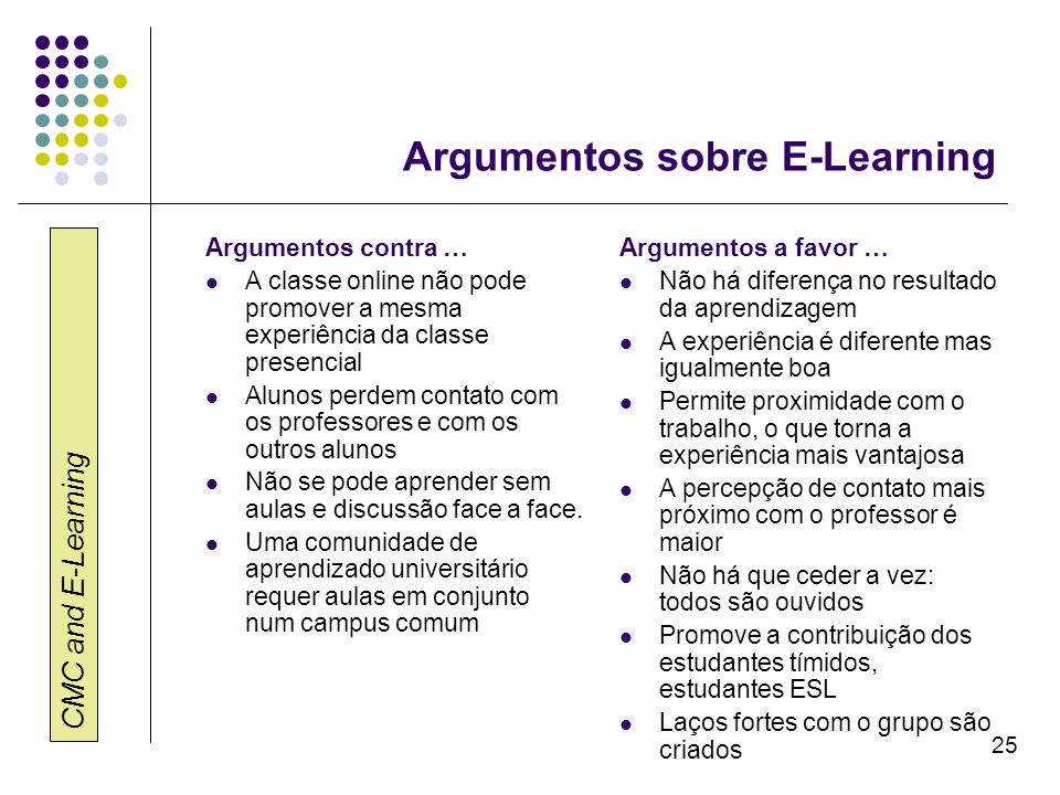 Argumentos sobre E-Learning