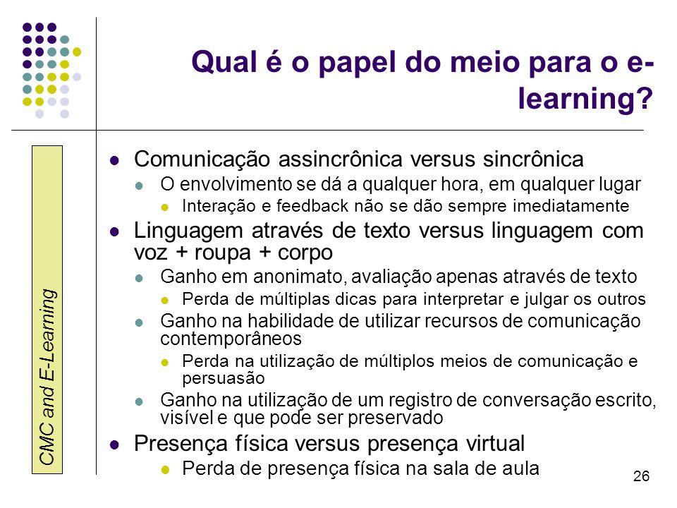 Qual é o papel do meio para o e-learning