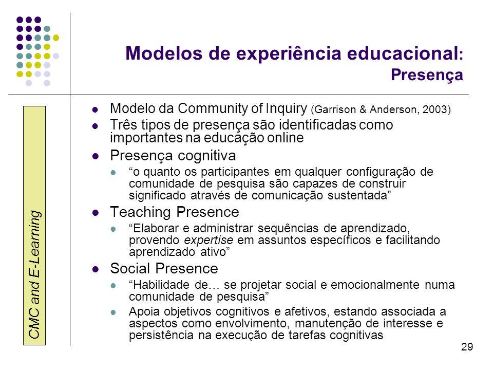 Modelos de experiência educacional: Presença