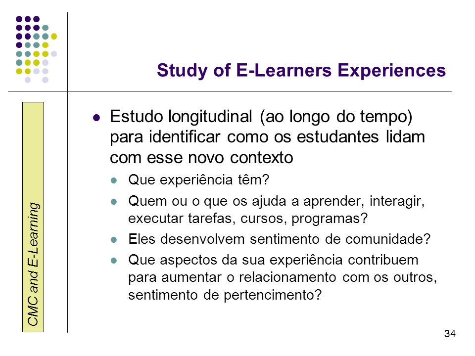 Study of E-Learners Experiences