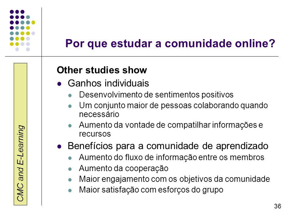 Por que estudar a comunidade online