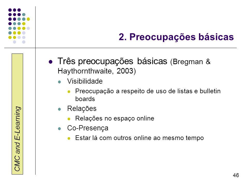 2. Preocupações básicas Três preocupações básicas (Bregman & Haythornthwaite, 2003) Visibilidade.