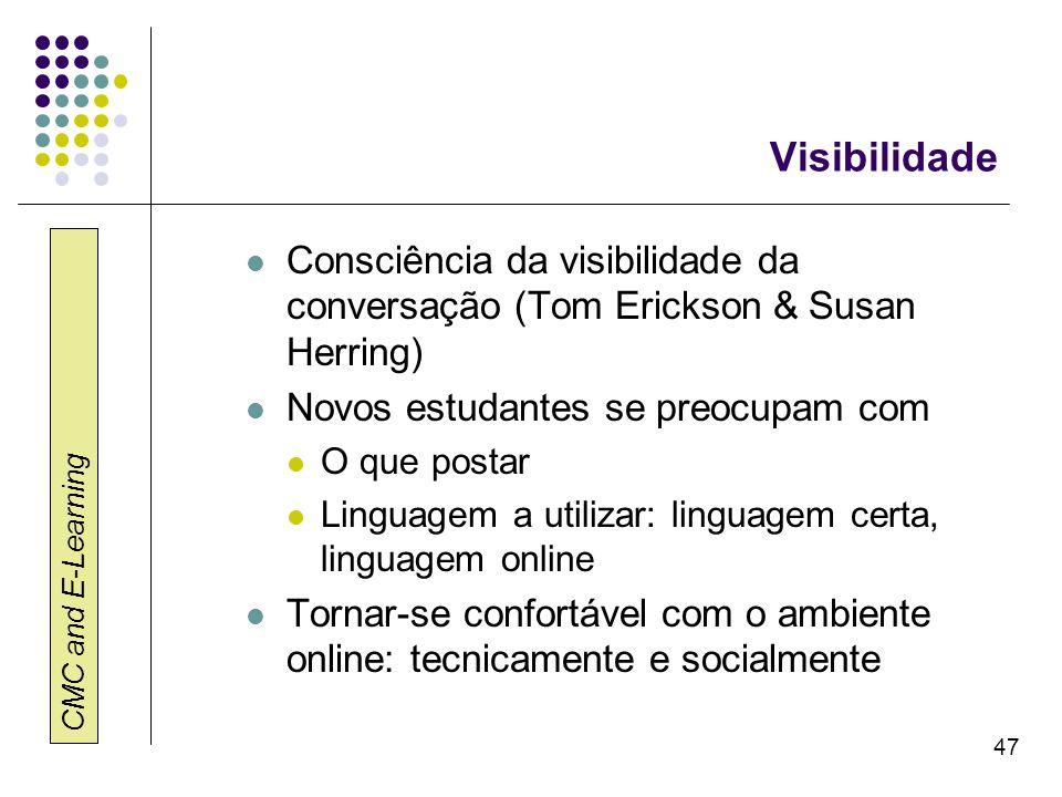 Visibilidade Consciência da visibilidade da conversação (Tom Erickson & Susan Herring) Novos estudantes se preocupam com.