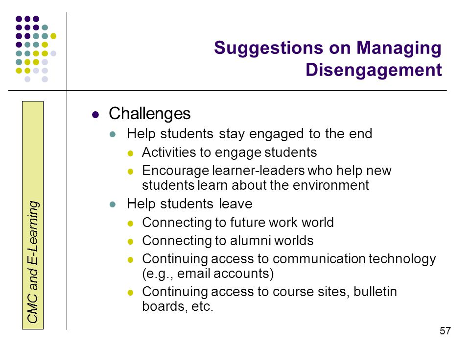 Suggestions on Managing Disengagement
