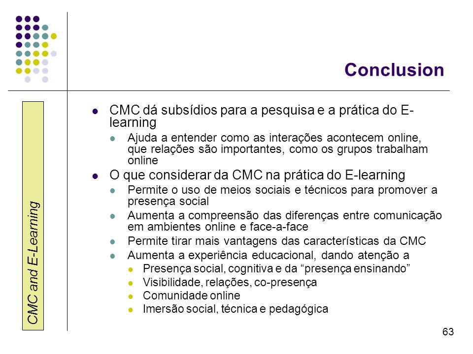 Conclusion CMC dá subsídios para a pesquisa e a prática do E-learning