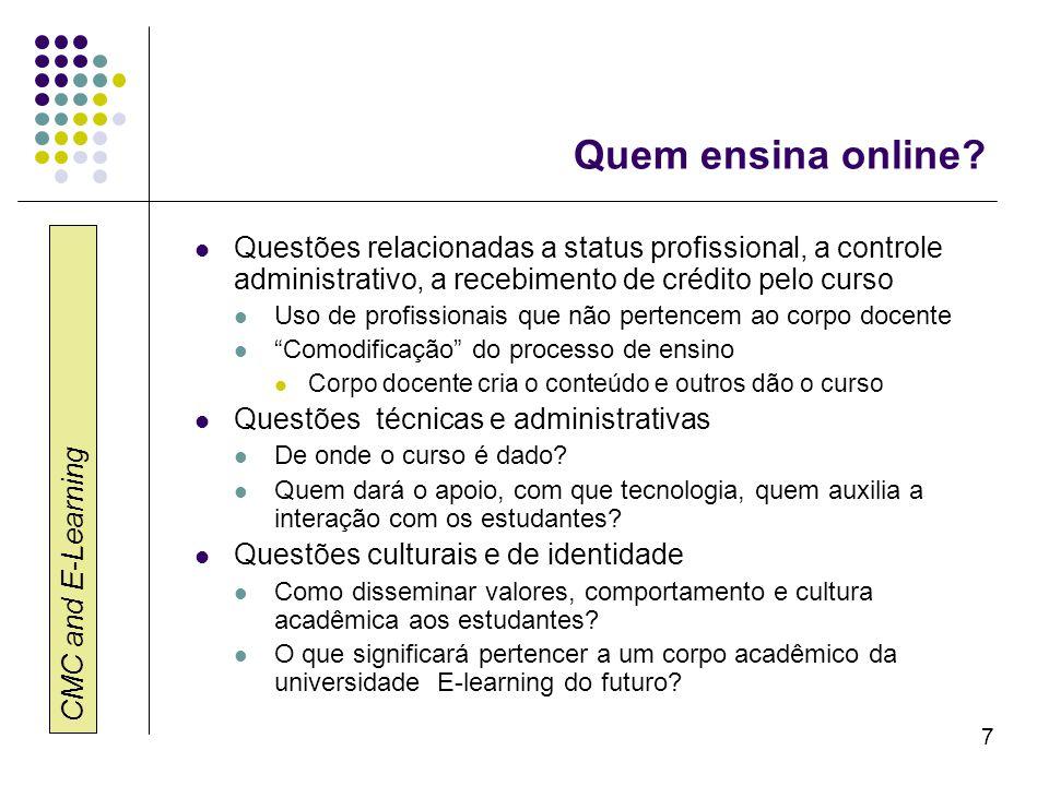 Quem ensina online Questões relacionadas a status profissional, a controle administrativo, a recebimento de crédito pelo curso.