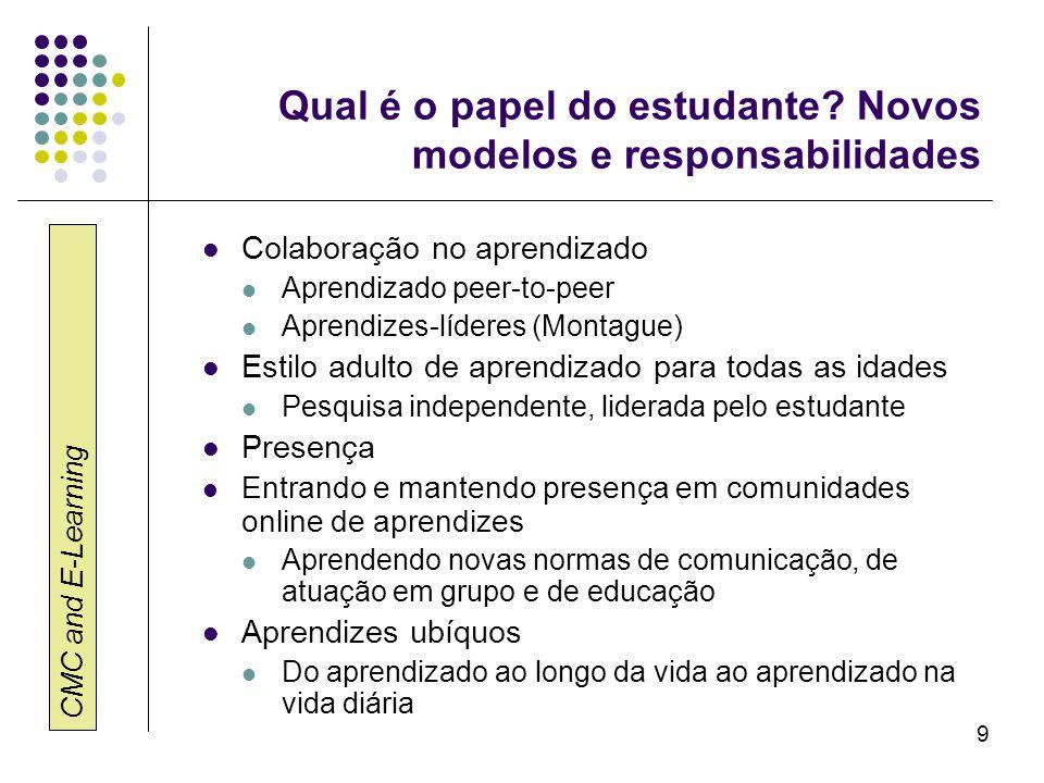 Qual é o papel do estudante Novos modelos e responsabilidades