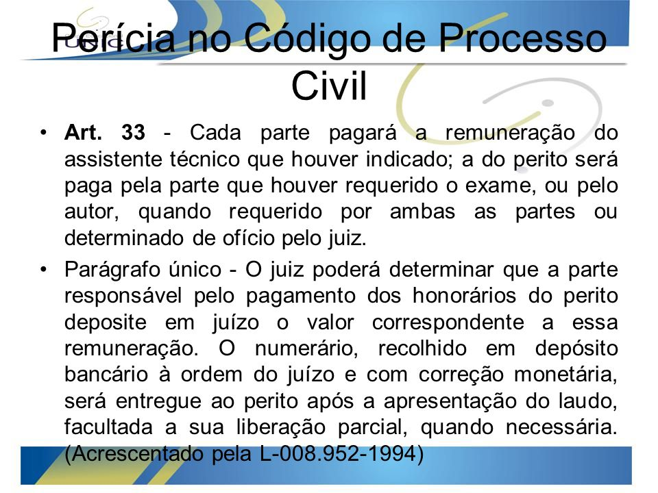 Perícia no Código de Processo Civil