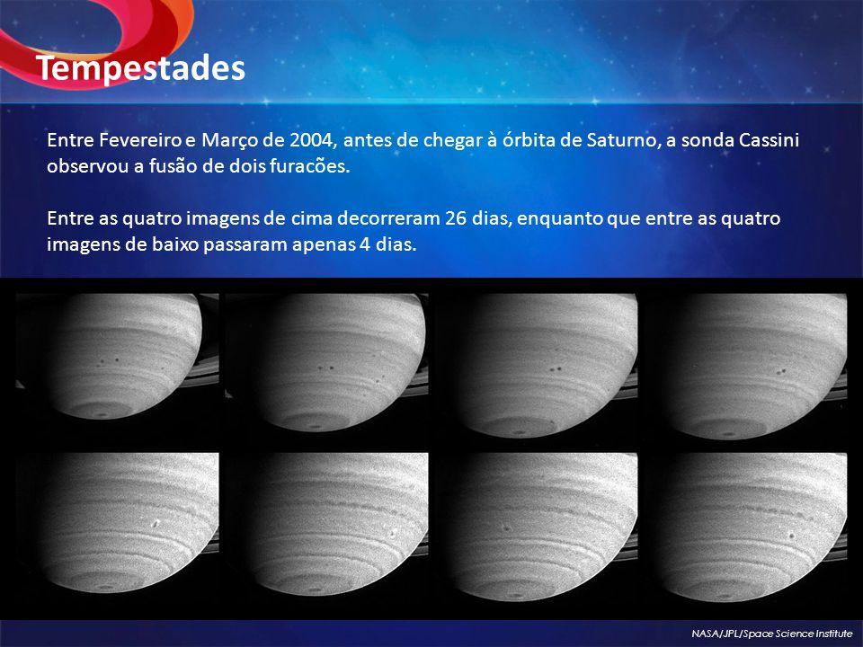 Tempestades Entre Fevereiro e Março de 2004, antes de chegar à órbita de Saturno, a sonda Cassini observou a fusão de dois furacões.