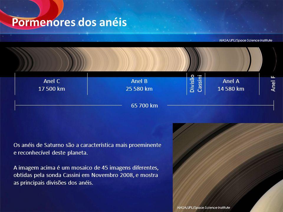 Pormenores dos anéis Divisão Cassini Anel C 17 500 km Anel B 25 580 km