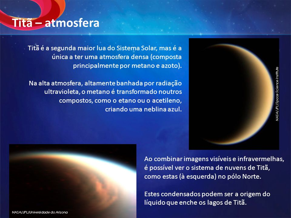 Titã – atmosfera NASA/JPL/Space Science Institute.