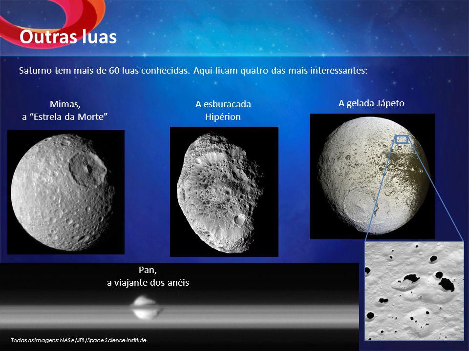 Outras luas Saturno tem mais de 60 luas conhecidas. Aqui ficam quatro das mais interessantes: Mimas,