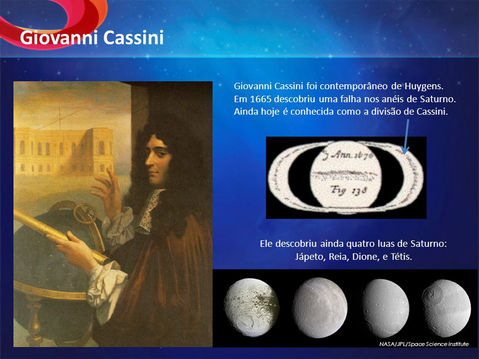 Giovanni Cassini Giovanni Cassini foi contemporâneo de Huygens.