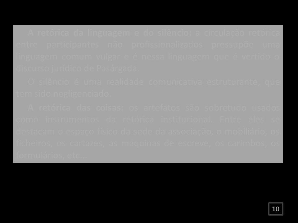 A retórica da linguagem e do silêncio: a circulação retórica entre participantes não profissionalizados pressupõe uma linguagem comum vulgar e é nessa linguagem que é vertido o discurso jurídico de Pasárgada.