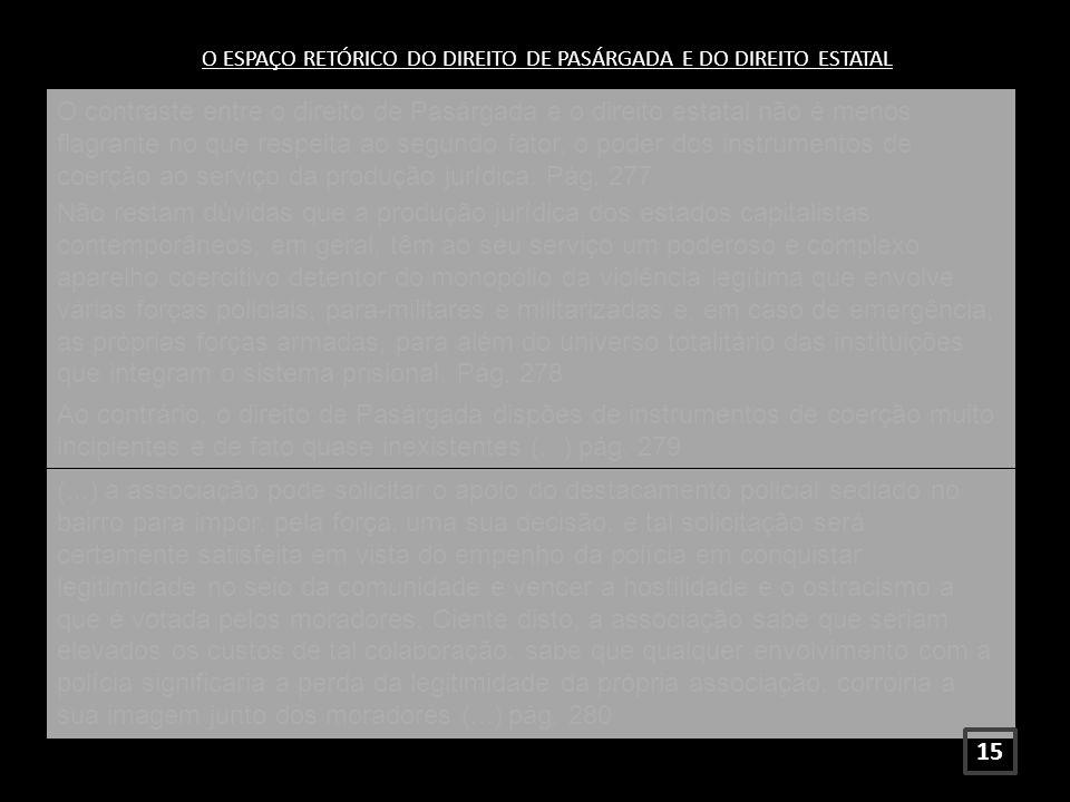 O ESPAÇO RETÓRICO DO DIREITO DE PASÁRGADA E DO DIREITO ESTATAL