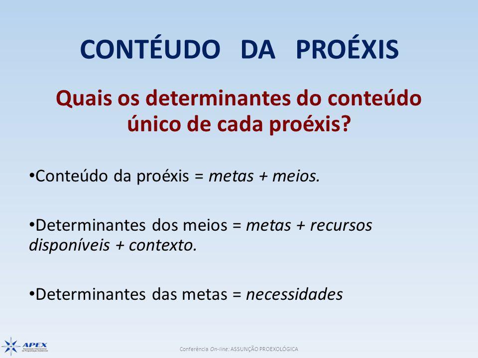 Quais os determinantes do conteúdo único de cada proéxis
