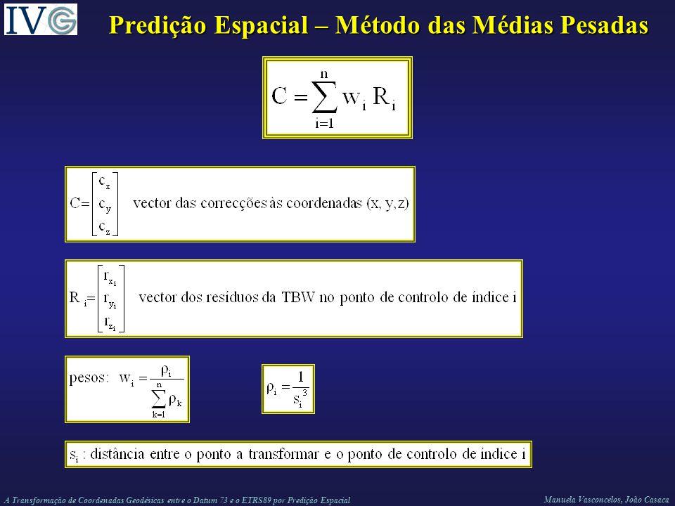 Predição Espacial – Método das Médias Pesadas
