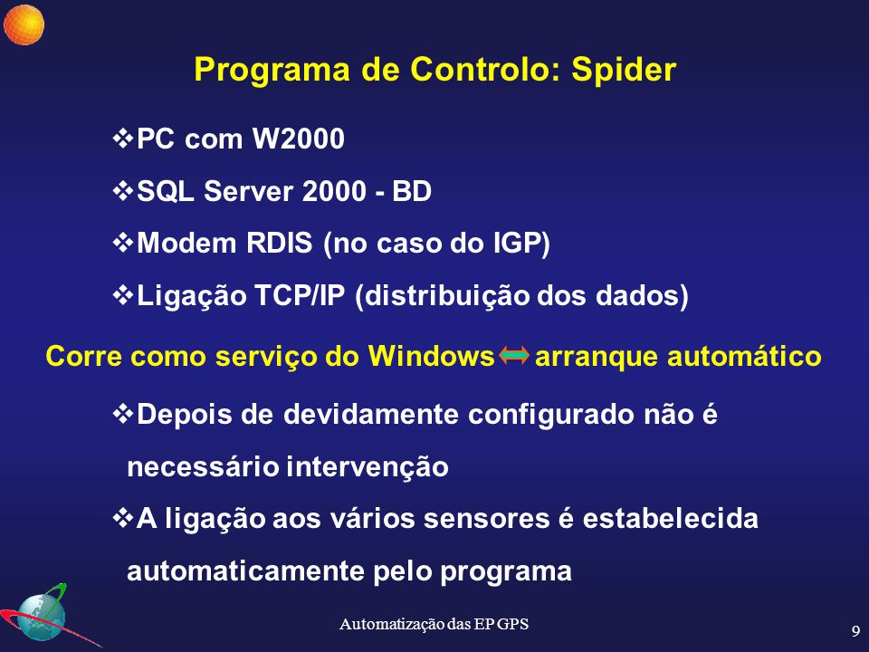 Programa de Controlo: Spider