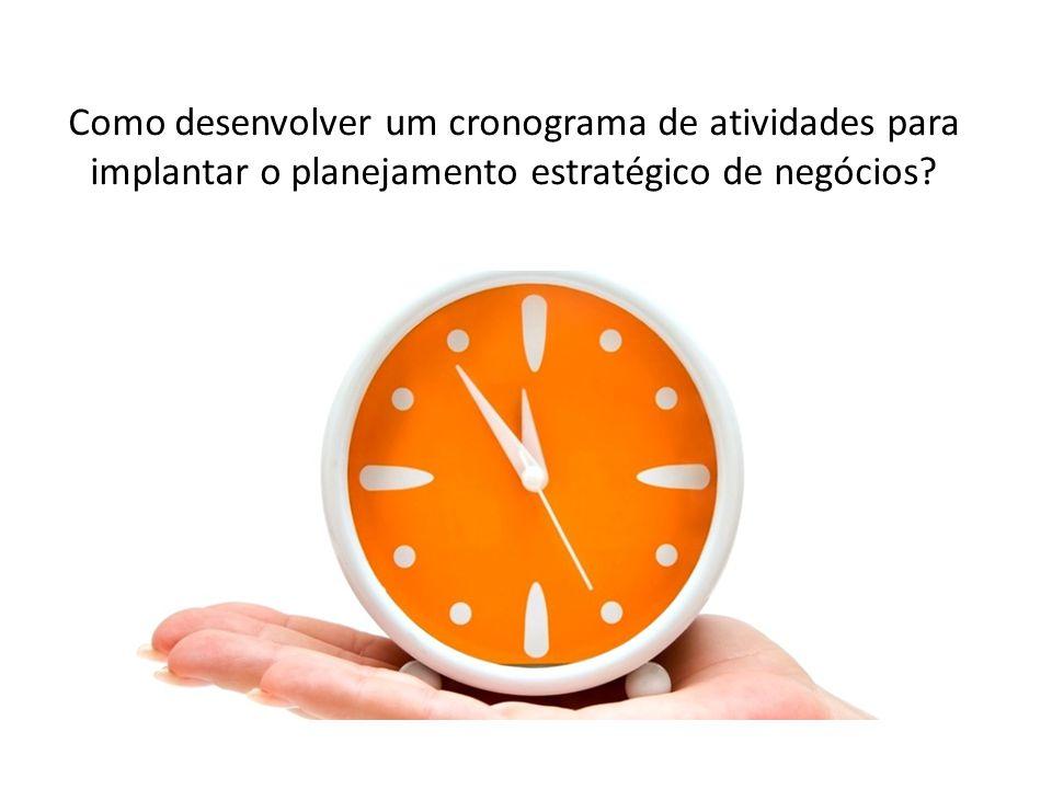 Como desenvolver um cronograma de atividades para implantar o planejamento estratégico de negócios