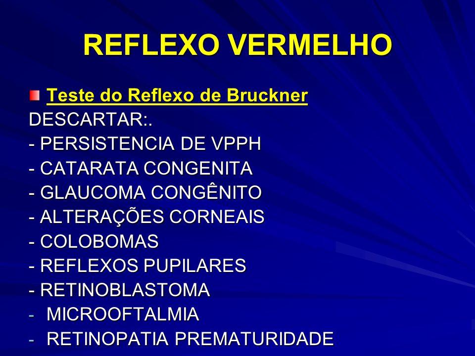 REFLEXO VERMELHO Teste do Reflexo de Bruckner DESCARTAR:.