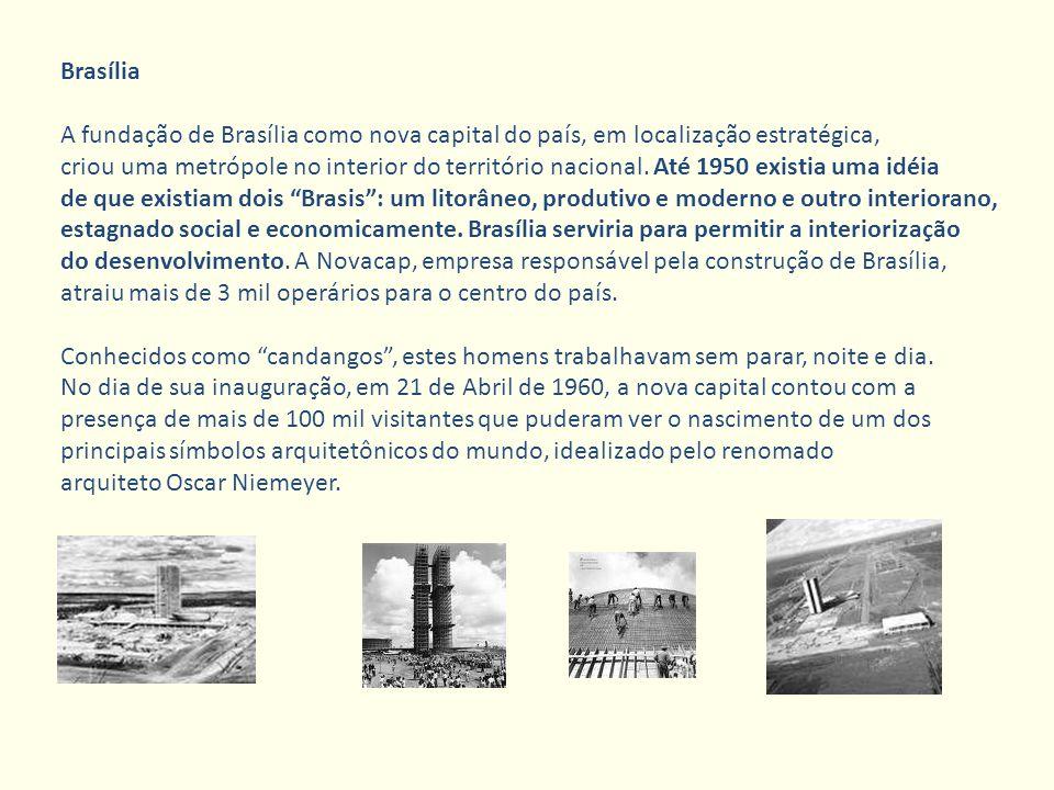 Brasília A fundação de Brasília como nova capital do país, em localização estratégica,