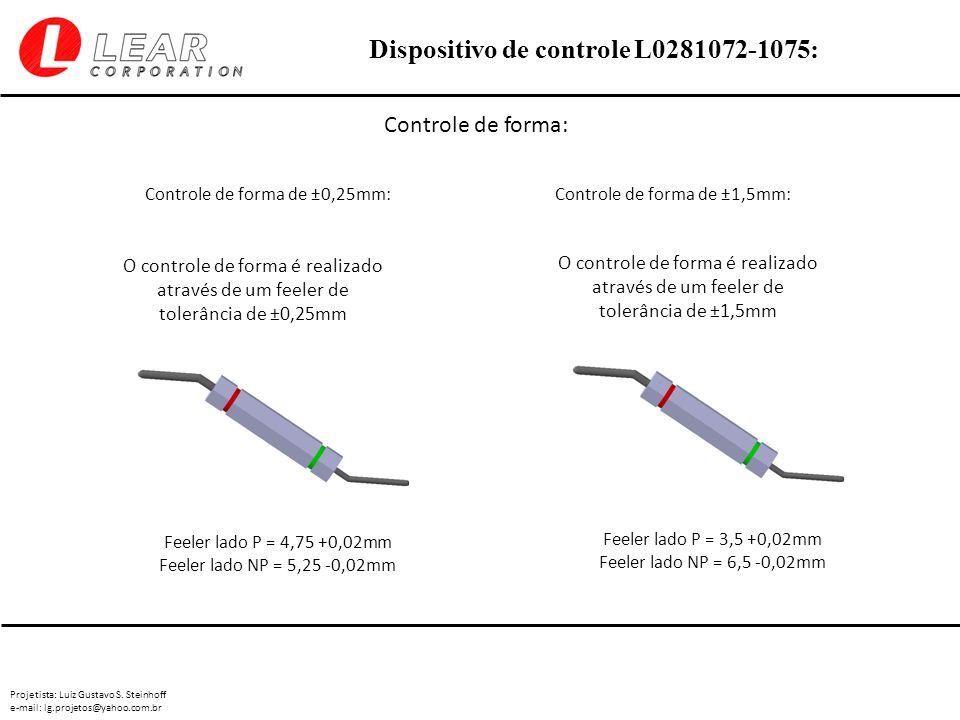 Controle de forma: Controle de forma de ±0,25mm: Controle de forma de ±1,5mm: