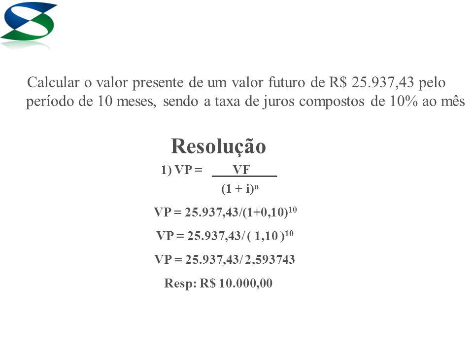 Calcular o valor presente de um valor futuro de R$ 25
