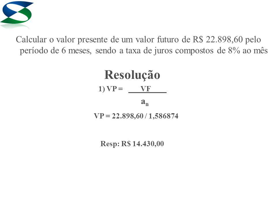 Calcular o valor presente de um valor futuro de R$ 22