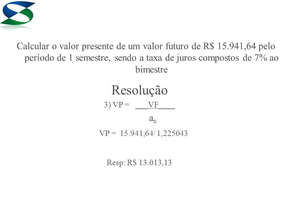 Calcular o valor presente de um valor futuro de R$ 15