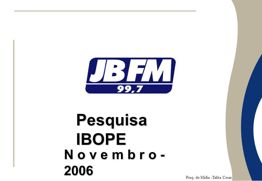 Pesquisa IBOPE N o v e m b r o - 2006 Pesq. de Mídia -Talita Cesar