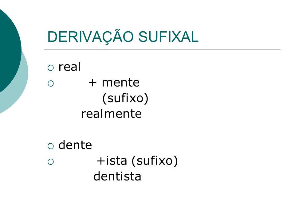 DERIVAÇÃO SUFIXAL real + mente (sufixo) realmente dente +ista (sufixo)