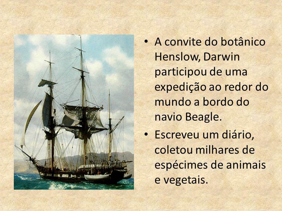 A convite do botânico Henslow, Darwin participou de uma expedição ao redor do mundo a bordo do navio Beagle.