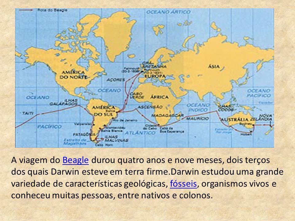 A viagem do Beagle durou quatro anos e nove meses, dois terços dos quais Darwin esteve em terra firme.Darwin estudou uma grande variedade de características geológicas, fósseis, organismos vivos e conheceu muitas pessoas, entre nativos e colonos.