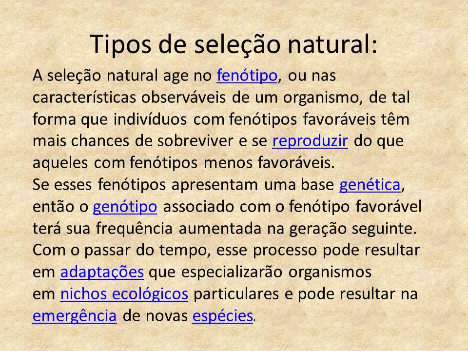 Tipos de seleção natural: