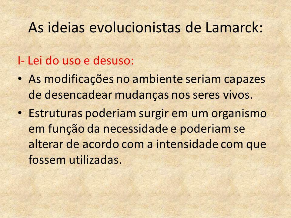 As ideias evolucionistas de Lamarck:
