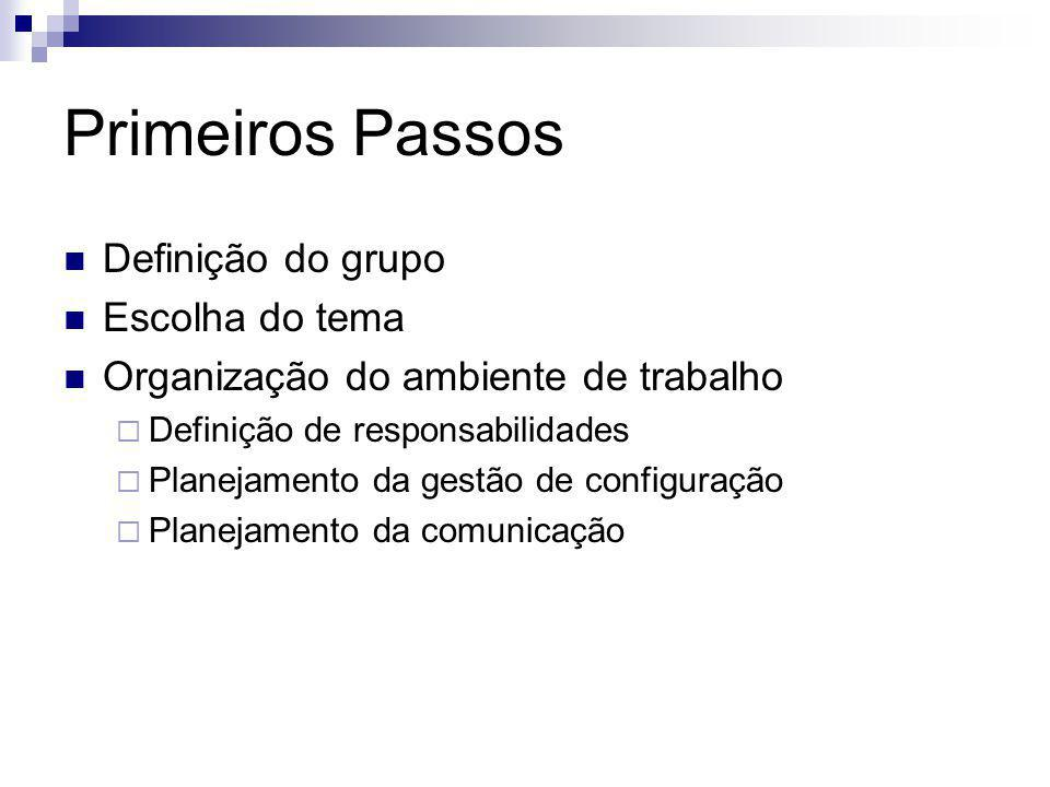 Primeiros Passos Definição do grupo Escolha do tema