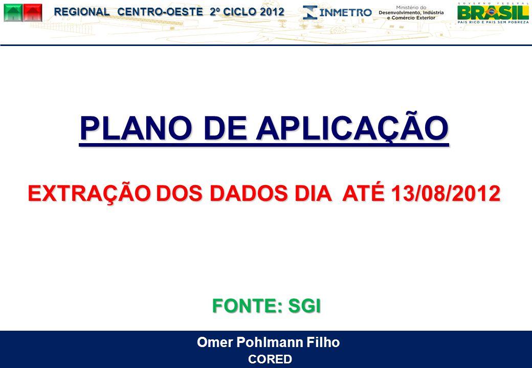 EXTRAÇÃO DOS DADOS DIA ATÉ 13/08/2012