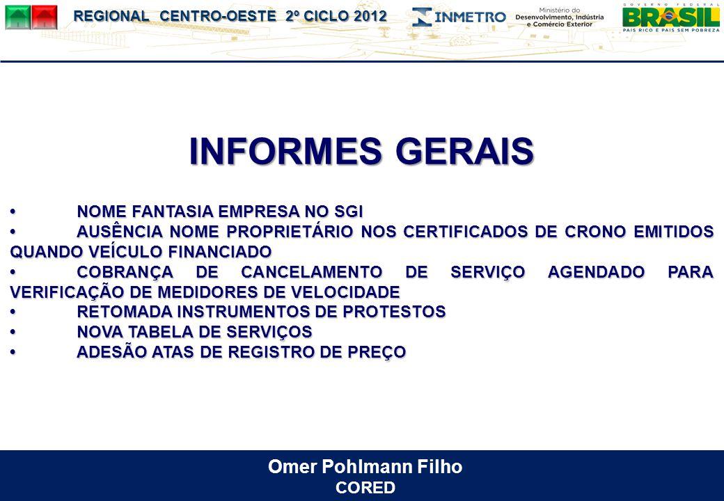 INFORMES GERAIS Omer Pohlmann Filho • NOME FANTASIA EMPRESA NO SGI
