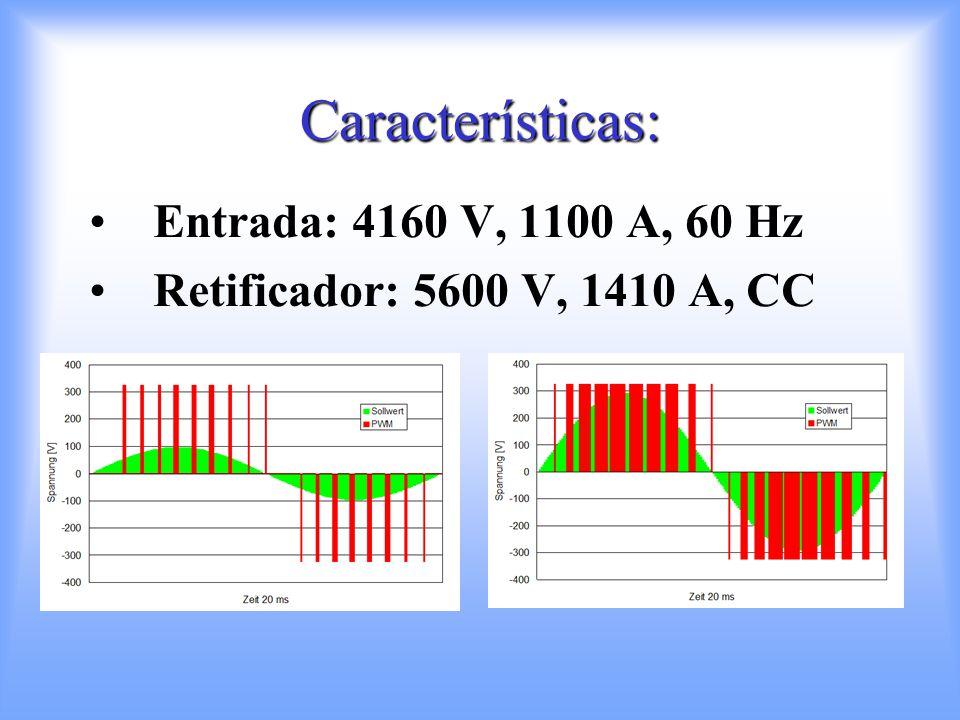 Características: Entrada: 4160 V, 1100 A, 60 Hz