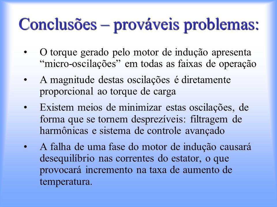 Conclusões – prováveis problemas: